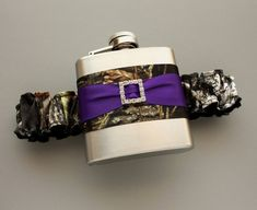 Camouflage FLASK GARTER  Camo & Purple  Bride or by MoonshineBelle, $39.00