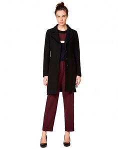 Coat with belt Black - Women | Benetton