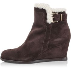 Fendi Shearling lined ankle boots ($355) ❤ liked on Polyvore featuring shoes, boots, ankle booties, brown, brown leather bootie, brown boots, leather bootie, brown ankle boots and brown bootie