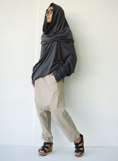 N ° 101 gris poussiéreux de mélange de coton Jersey haute cheminée cou tunique Top, drapé Cowl Neck T-Shirt
