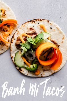 Banh Mi Tacos are perfect for grilling season and can be made in under 30 minutes! Tender grilled pork is topped with quick-pickled vegetables, hot chili mayo, jalapenos and cilantro. It's your favorite sandwich, in taco form!