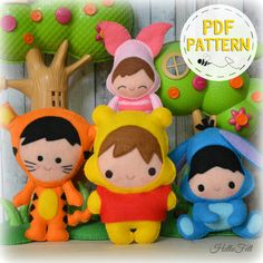Set of 4. Baby Pooh and friends: Tigger Piglet and by HelloFelt