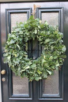 krans eikenblad 45 cm Crochet Christmas Wreath, Poinsettia Wreath, Hydrangea Wreath, Floral Wreath, Autumn Wreaths, Holiday Wreaths, Christmas Decorations, Diy Crafts How To Make, How To Make Wreaths