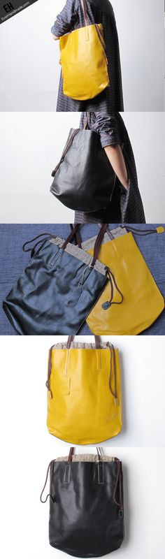 Yellow Black Handmade Leather Women Tote Bags