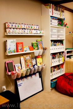 This homeschool room is a little over the top but has some great ideas for furniture and organization.