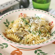 Fusilli con carciofi e mozzarella / Fusilli with artichokes and mozzarella