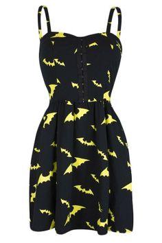 Women's Bat Dress With Smocked - Yellow