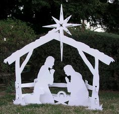 Outdoor Christmas Patterns | Nativity Scene Wood Pattern Outdoor Christmas Decorations Pic #21