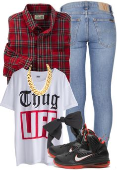 Clothes, swag, outfits, flannel, sneakers