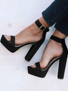 Cheap Moda hebilla del tobillo correa negro sandalias de tacón ... a693d0ebb676
