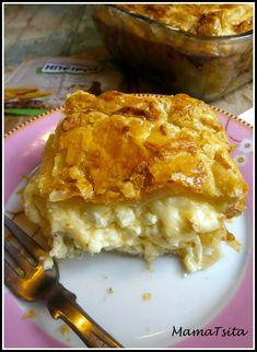 Τυρόπιτα με τρία τυριά. Cheesepie with three cheeses. - mamatsita.com Cheese Pies, I Foods, Lasagna, Macaroni And Cheese, Recipies, Food And Drink, Pizza, Cooking Recipes, Favorite Recipes