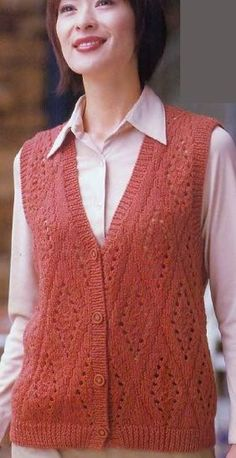 Knit vest, and you will understand how it is irreplaceable. The vest can be worn with jeans and trousers, skirts and dresses Crochet Bolero Pattern, Knit Cardigan Pattern, Sweater Knitting Patterns, Knitting Designs, Baby Hats Knitting, Summer Knitting, Lace Knitting, Knitting Needles, Crochet Girls