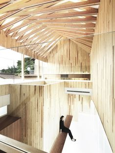 Image 3 of 6 from gallery of Timber Dentistry / Kohki Hiranuma Architect & Associates. Photograph by Satoshi Shigeta Timber Architecture, Timber Buildings, Residential Architecture, Architecture Details, Commercial Architecture, Wood Interior Design, Arch Interior, Timber Roof, Building Costs