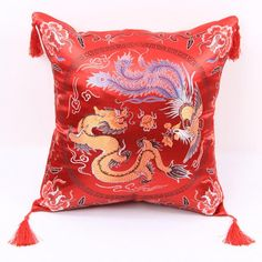 dragon and phoenix throw pillows for couch chinoiserie red sofa cushions