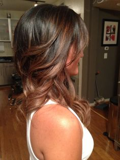 My new ombre hair finally done right! Love it! Face It Salon. Dark chocolate to caramel fade.
