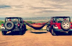 hammock between Jeeps! how awesome would this be!?!