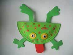 Frog made out of paper plate and construction paper - this would be really cute for my preschoolers if we had the time!!