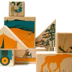 summer maple wooden blocks and puzzle stacking toy art von fidoodle, $28.00