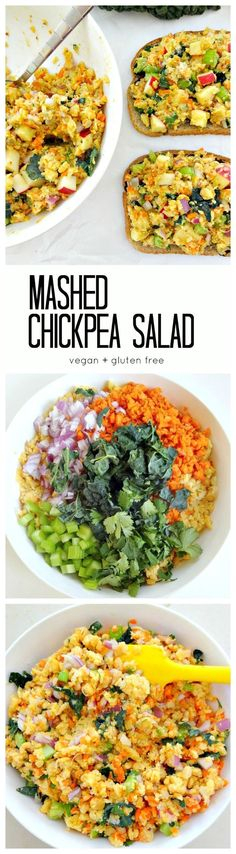 Vegan + GF - Mashed Chickpea Salad. Easy, yummy and healthy with lots of veggies (and kale!), plant protein, fiber, flavor and vibrant crunch. www.theglowingfridge.com/