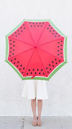 DIY watermelon umbrella