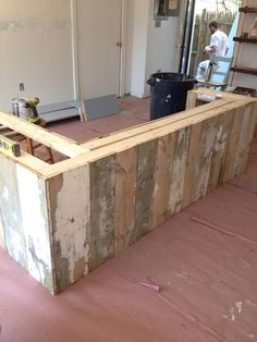 vintage checkout counters...could make from pallet wood?