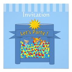 Cute Kids Bounce House Birthday Party Invitation
