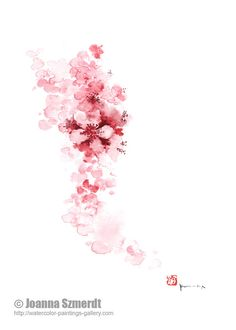 Mothers day gift ideas cherry blossom summer fashion of pink watercolors painting wedding gift floral home decor fine art print of flowers