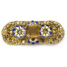 Image of Vintage Art Deco Czech Enamel Flower Filigree Pin Brooch