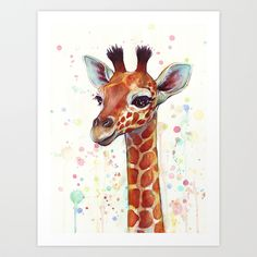 Baby Giraffe Watercolor Painting, Cute Animals Art Print by Olechka | Society6