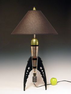 Table Lamp. Atomic retro rocket lamp. Metallic peridot and metal leaf. 50s. Steam punk. Art Deco. Space age. Sky Captain. 189 on Etsy, $377.00