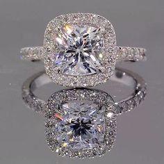 Halo Inline Ring || Princess Cut Diamond Halo Ring With White Diamond In 14K White Gold: