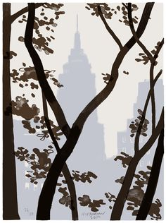 """""""Empire State Building over Bryant Park"""" 4 color silkscreen. I'll show this new print at my open Studio. Christoph Niemann, Wall Art Prints, Poster Prints, Berlin Mitte, Great Buildings And Structures, Modern Buildings, Dubai Skyscraper, Bryant Park, Travel Drawing"""