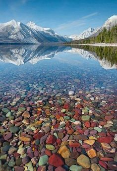 Lake McDonald is the largest lake in Glacier National Park. It is located at 48°35′N 113°55′W in Flathead County in the U.S. state of Montana
