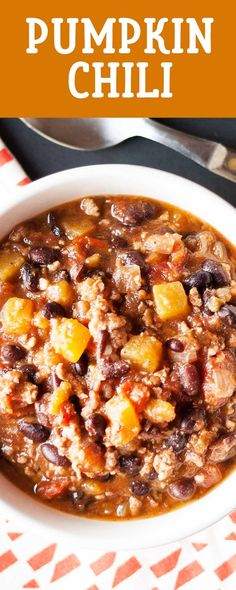 Pumpkin Chili! Made with chunks of pumpkin, ground pork, black beans, a bottle of beer, and plenty of spices. Ready in under an hour. Even better the next day.