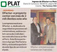 The Factory HKA: Ingreso de DFactur-e en el diario El Comercio de Perú (06/02/15)