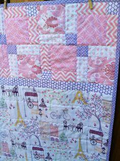 Paris Baby Quilt,Baby Quilt,Baby Girl Quilt,Pink Baby Quilt,Eiffel Tower Quilt,Purple Baby Quilt,Toddler Girl Quilt,Paris Crib, Paris Baby