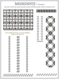 Semne Cusute: ie din Gemeni, Mehedinti, OLTENIA Folk Embroidery, Embroidery Patterns, Stitch Patterns, Knitting Patterns, Cross Stitch Borders, Cross Stitching, Palestinian Embroidery, Traditional Outfits, Beading Patterns