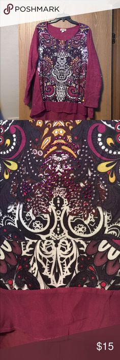 One World top High/ low tunic. Rich purple colors. Long knit sleeves and back. Embellished front. ONE WORLD Tops Tunics