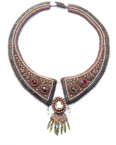 Bead Embroidery  Collar Necklace    Hestia    Seed beaded necklace    Swarovski  Gold Bronze Brown Copper
