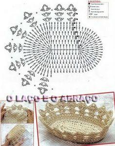 L& et l& corbeille de pain et d& fruitiers - Cestas para pão em crochê - Crochet Diy, Vase Crochet, Diy Crochet Basket, Crochet Cup Cozy, Crochet Storage, Crochet Shell Stitch, Owl Crochet Patterns, Crochet Motifs, Crochet Chart