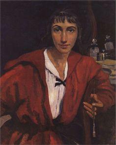 Self-portrait in red, 1921   Zinaida Serebriakova