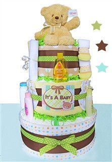 *Please allow 1-2 business days for processing. VIEW SHIPPING RATES/ MAP FOR THIS ITEM Welcome new baby with this adorable essential filled diaper cake! It includes lots of gifts the new mom will love