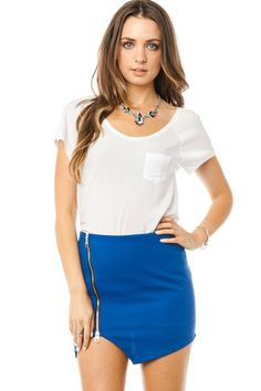 ShopSosie Style : Roux Zipper Skirt in Blue