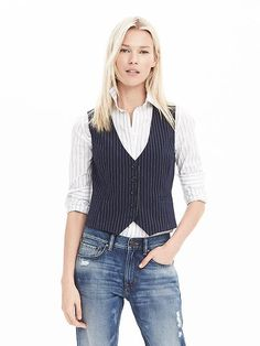 I love the idea of this, and also with a plain white short sleeved T. (BR has sales all of the time. Can probably score for 40 or 50% off soon. Just have to watch) Banana Republic Pinstripe Vest