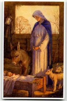 'Joy of Heaven Came Down to Earth' by Margaret Winifred Tarrant an English illustrator specializing in religious subjects. Religious Pictures, Religious Icons, Religious Art, Christmas Nativity, Christmas Art, Art Magique, Illustrations Vintage, Blessed Mother Mary, O Holy Night