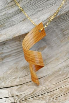 Brass Necklace with White Oak Pendant