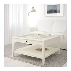 IKEA - LIATORP, Coffee table, gray/glass, , Practical storage space underneath the table top.Separate shelf for magazines, etc. helps you keep your things organized and the table top clear.
