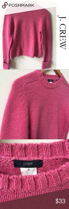 "J.Crew |  Lambswool Cropped Crew Neck Sweater J.Crew 100% Lambswool Cropped crew neck sweater. Measurements: length 23"" bust 15.5"" , sleeve length 26"". Great condition!! Size medium J. Crew Sweaters Crew & Scoop Necks"