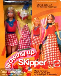 1975 Growing Up Skipper. You cranked her arm around, and she sprouted. Crazy!