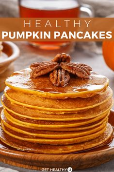 This healthy pumpkin pancake recipe is a family favorite! By using pumpkin to replace most of the oil, you save tons of fat and calories creating a sc Healthy Food Swaps, Good Healthy Recipes, Healthy Kids, Autumn Recipes Vegetarian, Fall Recipes, Dairy Free Recipes, Gourmet Recipes, Cooking Recipes, Yummy Pancake Recipe